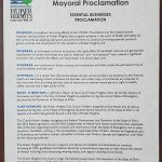 Essential Businesses –  Mayoral Proclamation